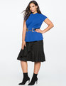 Pleated Neckline Peplum Top Mazarine Blue