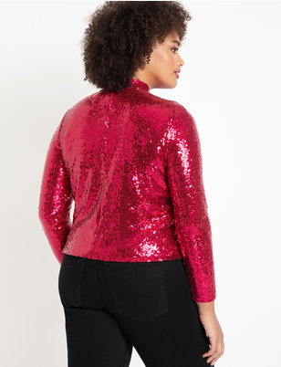 Cropped Sequin Long Sleeve Turtleneck