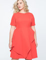 Short Sleeve Dress with Skirt Overlay Cherry Tomato