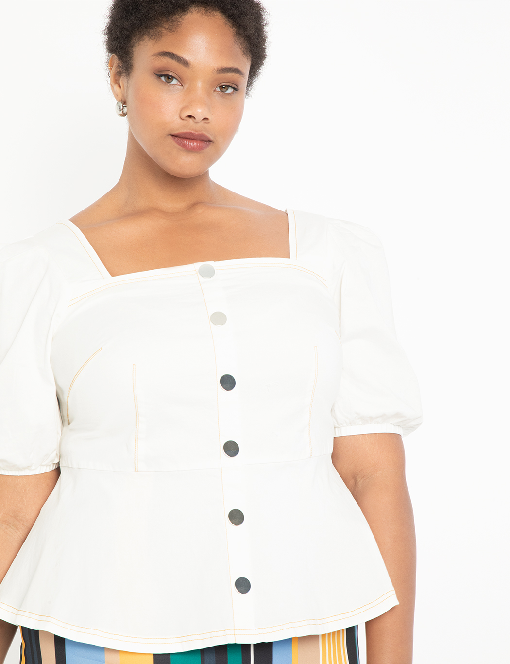 Short Sleeve Peplum with Contrast Stitching