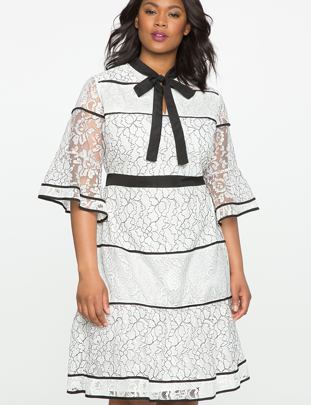 Studio Lace Blocked Dress With Piping Womens Plus Size Dresses Eloquii
