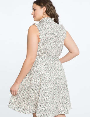 Mandarin Collar Fit and Flare Dress