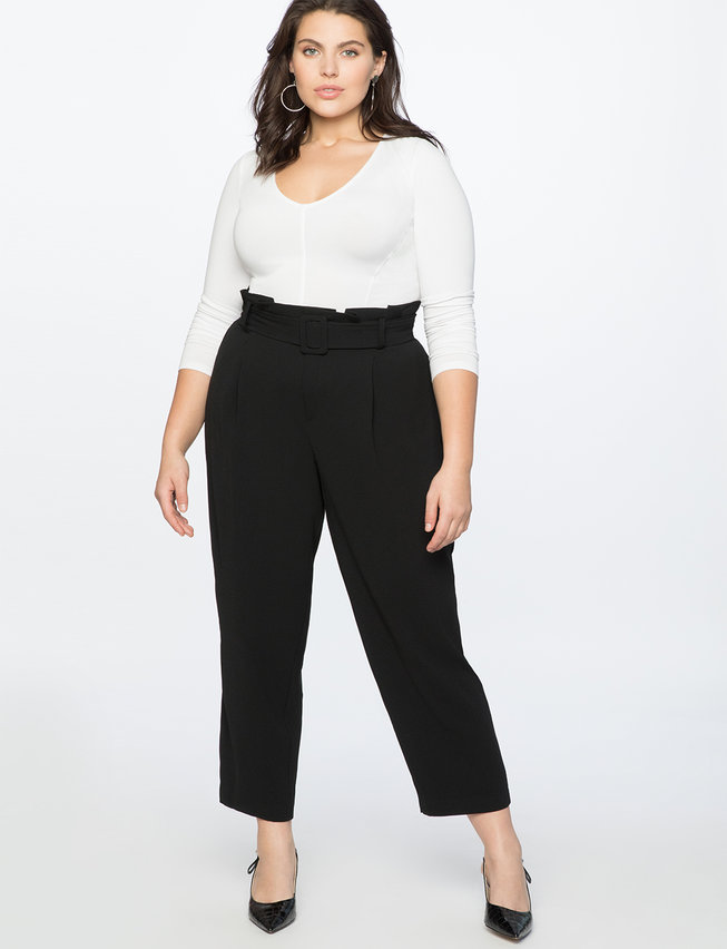 Belted Paperbag Waist Pant