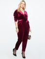 Velvet Pleated Jumpsuit WINE