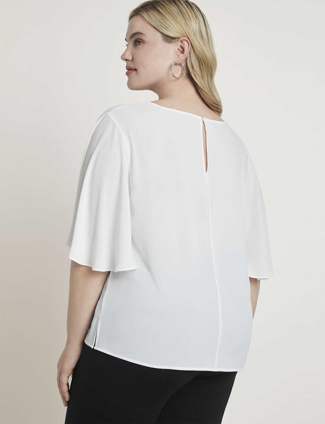 Short Flutter Sleeve V-Neck Top