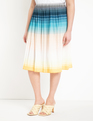 Pleated Midi Skirt Ombre Horizons