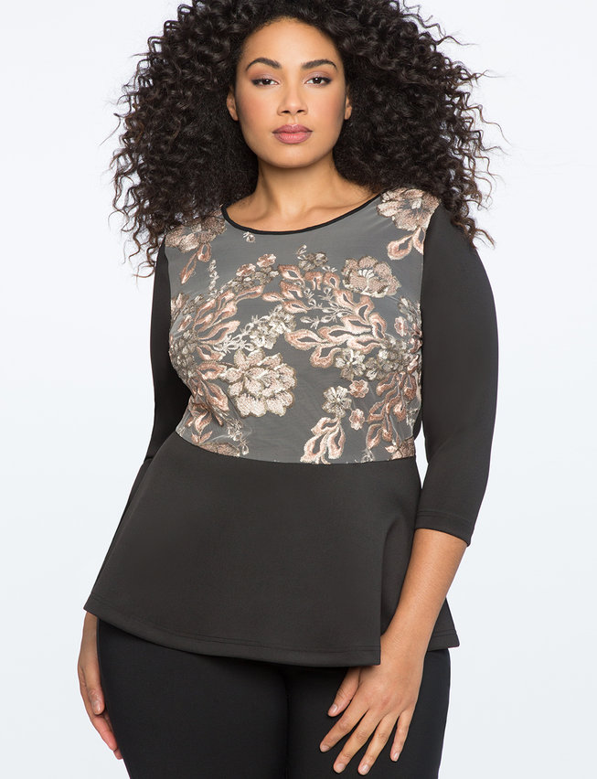 Lace Embellished Peplum top