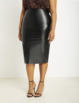 Faux Leather Column Skirt