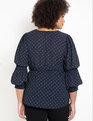 Button Down Smocked Sleeve Top Navy + Ecru