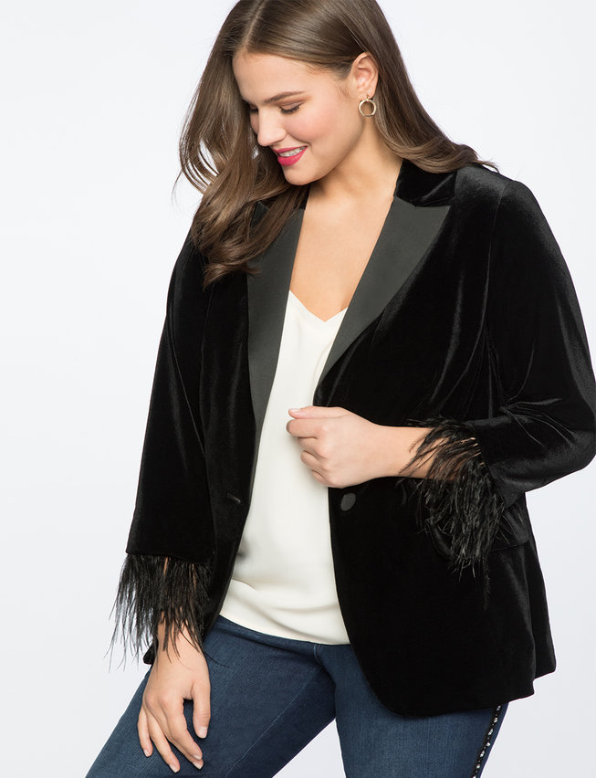 Feather Trimmed Velvet Blazer