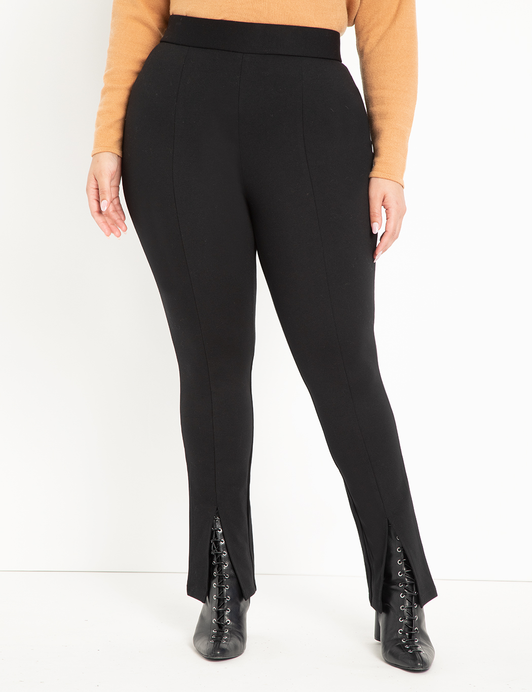 ELOQUII Elements Split Front Legging Totally Black