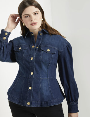 Peplum Puff Sleeve Denim Jacket