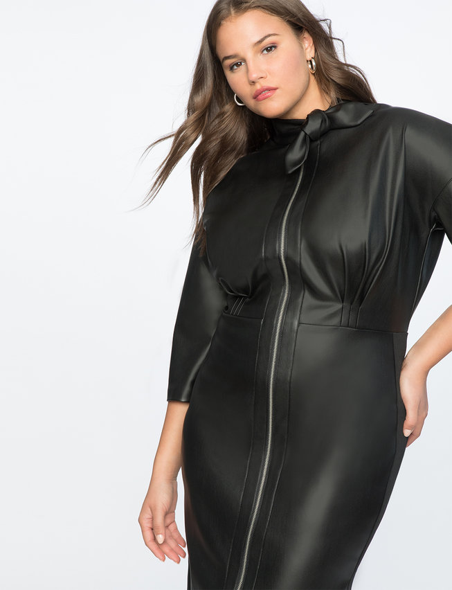 Tie Neck Faux Leather Dress