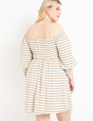 Smocked Bodice Midi Dress Straight as a Pindot