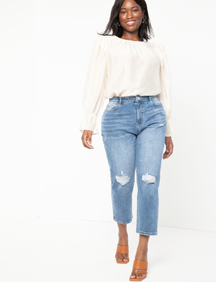 Classic Fit Stretch Denim Mom Jean