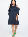 Cold Shoulder Fit and Flare Dress Totally Eclipse