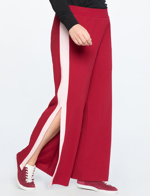 Wide Leg Track Pant With Side Slit