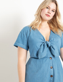 Chambray Tie Front Dress Medium Wash