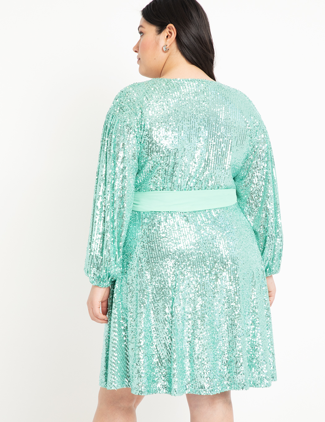 Belted Sequin Wrap Dress