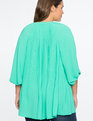 Pleated V-Neck Top Deep Mint