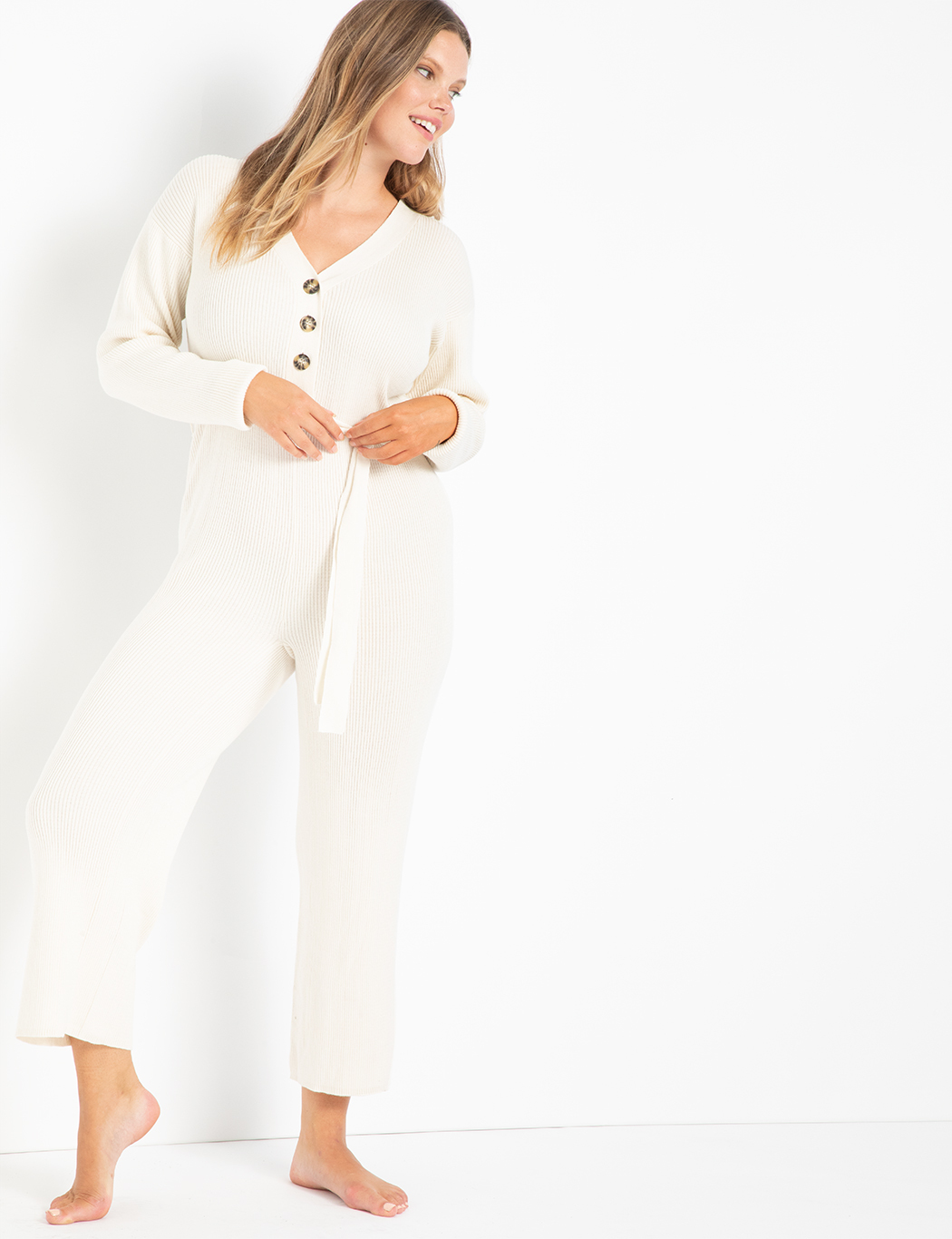 Button Front Sweater Jumpsuit