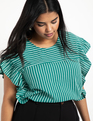 Bow Back Stripe Top Antique Green