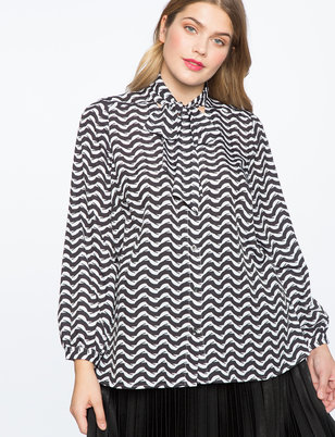 Printed Contrast Bow Blouse