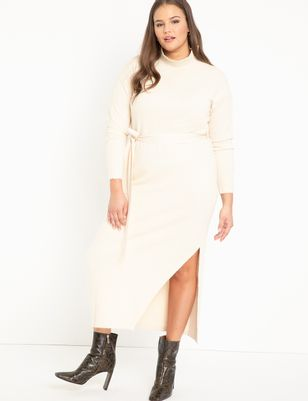 Funnel Neck Long Sweater Dress