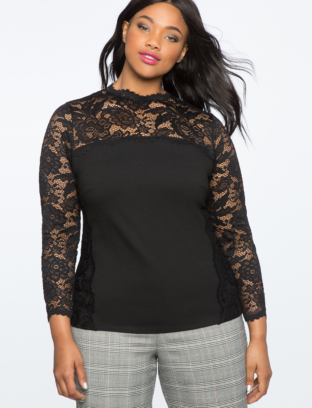 Long Sleeve Lace Detail Blouse