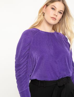 Shirred Sleeve Dolman Top