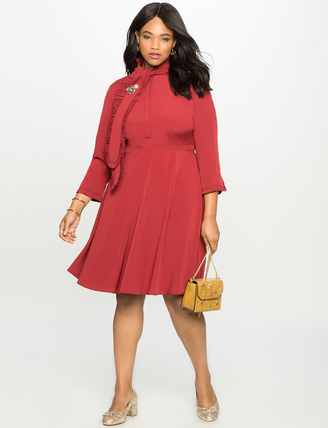 Bow Neck Fit and Flare Shirt Dress