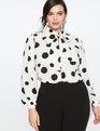 Tie Neck Blouse Soft White Ground with Black Polka Dots
