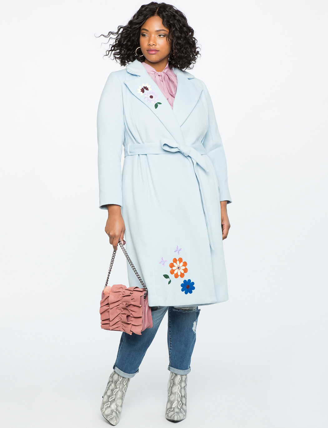 Embroidered Robe Coat