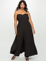 Sweetheart Neckline Jumpsuit with Skirt BLACK