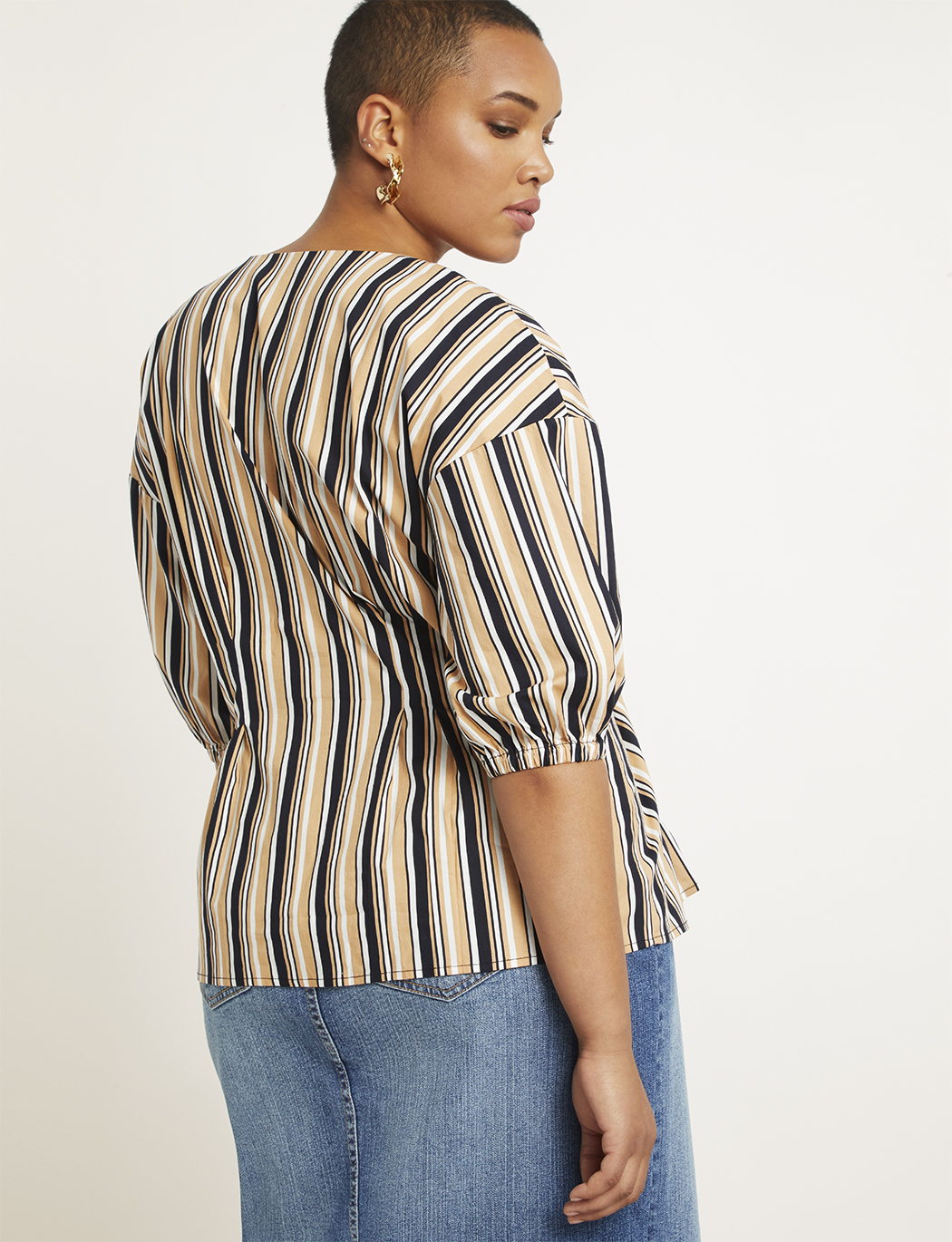V-Neck Button Front Top