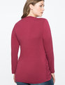 Ruched Cross Front Long Sleeve Top CORDOVAN