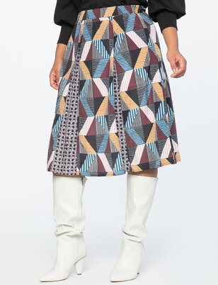 Print Block Midi Skirt With Godets
