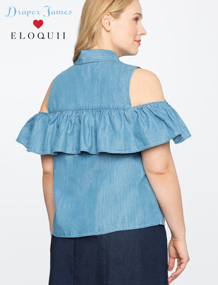 Draper James for ELOQUII Cold Shoulder Button Down