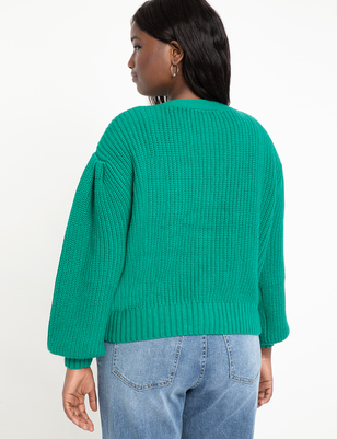 Sweater Cardigan with Pleated Sleeve