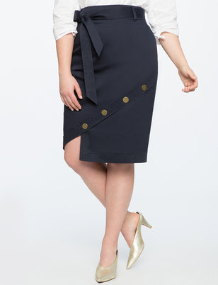 Button Hem Pencil Skirt