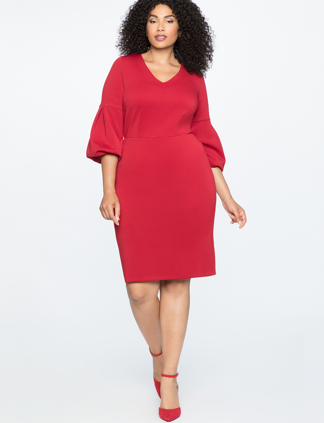 V-Neck Puff Sleeve Sheath Dress