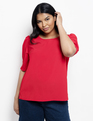 Pleated Puff Sleeve Top High Risk Red