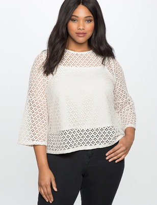 Flare Sleeve Lace Top