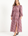Boat Neck Maxi Dress With Ruffle Stripe Chic
