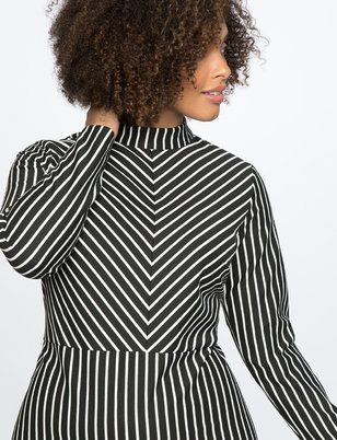 Turtleneck Opposing Stripes Dress