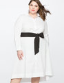 High Low Shirt Dress with Contrast Belt SOFT WHITE
