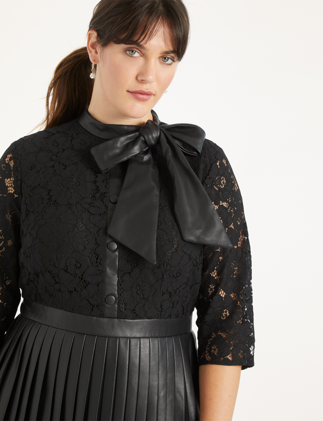Faux Leather and Lace Dress