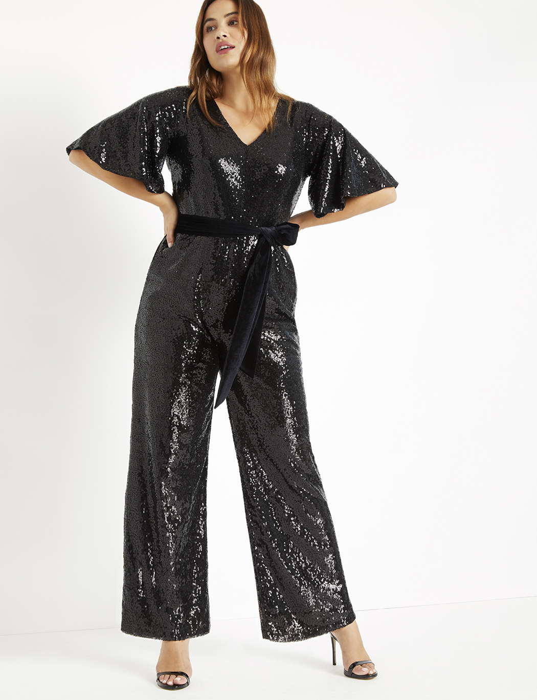 Sequin Flare Sleeve Jumpsuit