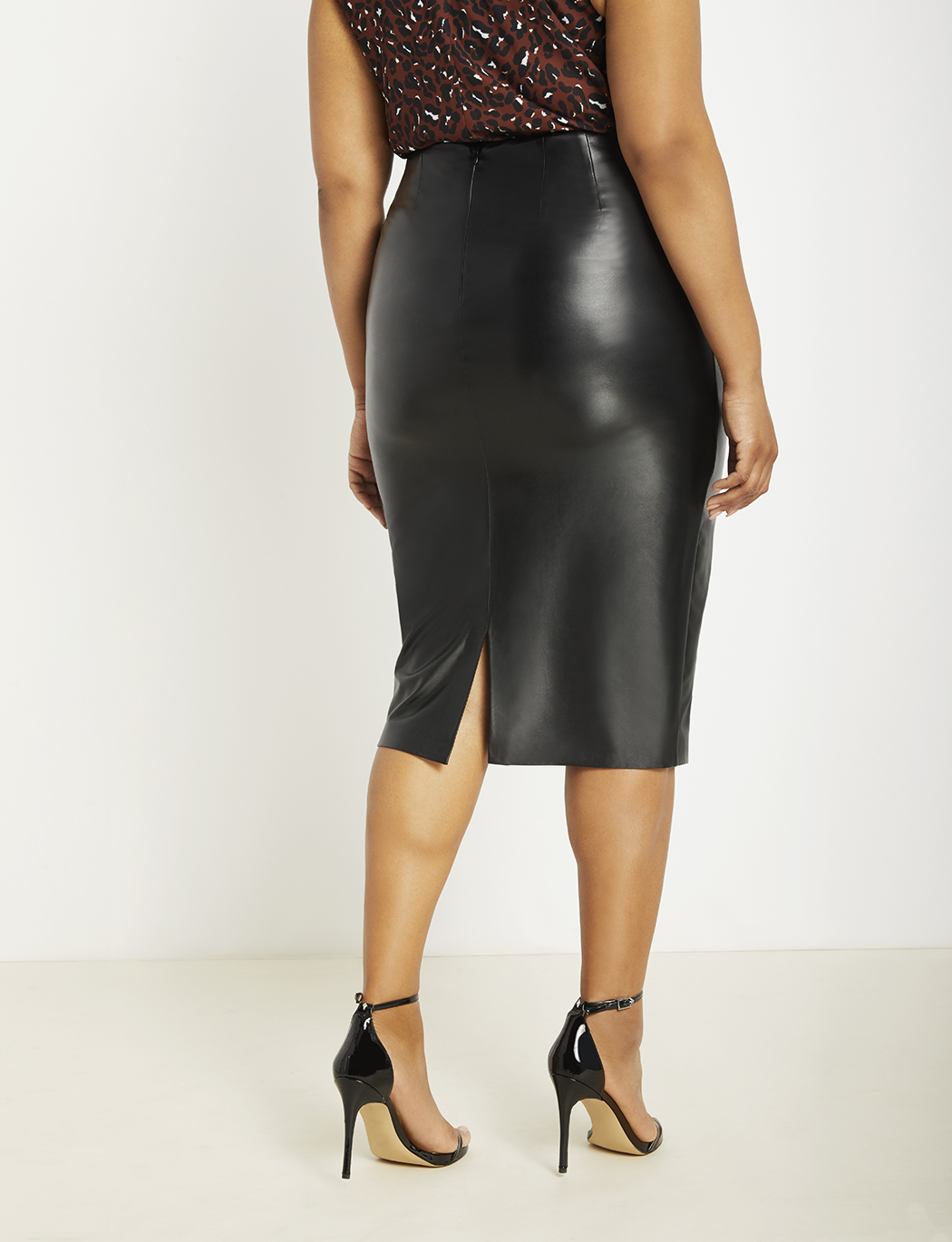 Vegan Leather Column Skirt