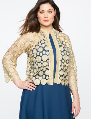 Teresa for ELOQUII Metallic Shell Lace Cardigan